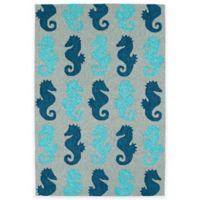 Kaleen Sea Isle Seahorses 3-Foot x 5-Foot Indoor/Outdoor Area Rug in Blue