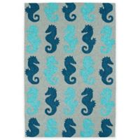 Kaleen Sea Isle Seahorses 5-Foot x 7-Foot 6-Inch Indoor/Outdoor Area Rug in Blue