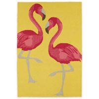 Kaleen Sea Isle Flamingo 2-Foot x 3-Foot Indoor/Outdoor Accent Rug in Yellow