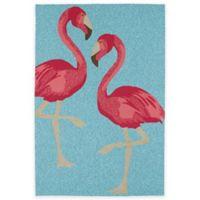 Kaleen Sea Isle Flamingo 2-Foot x 3-Foot Indoor/Outdoor Accent Rug in Blue