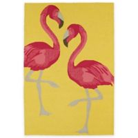 Kaleen Sea Isle Flamingo 7-Foot 6-Inch x 9-Foot Indoor/Outdoor Area Rug in Yellow