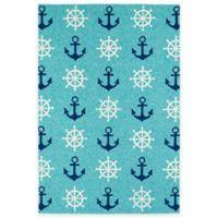 Kaleen Sea Isle Nautical 3-Foot x 5-Foot Indoor/Outdoor Accent Rug in Blue