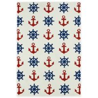 Kaleen Sea Isle Nautical 7-Foot 6-Inch x 9-Foot Indoor/Outdoor Area Rug in Ivory