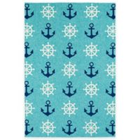 Kaleen Sea Isle Nautical 7-Foot 6-Inch x 9-Foot Indoor/Outdoor Area Rug in Blue