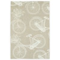Kaleen Sea Isle Bicycle 7-Foot 6-Inch x 9-Foot Indoor/Outdoor Area Rug in Brown