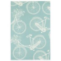Kaleen Sea Isle Bicycle 7-Foot 6-Inch x 9-Foot Indoor/Outdoor Area Rug in Light Blue