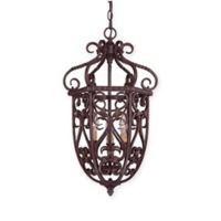 Savoy House Bellingham 3-Light Foyer Pendant in Bark/Gold with Glass Shade