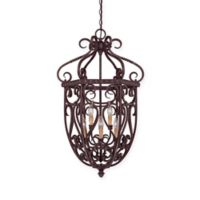Savoy House Bellingham 6-Light Foyer Pendant in Bark/Gold with Glass Shade