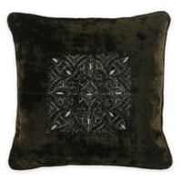 Bed Inc. Quinn Velvet Square Throw Pillow in Olive Green