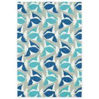 Kaleen Sea Isle Fish 2-Foot x 3-Foot Indoor/Outdoor Accent Rug in Blue
