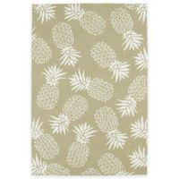 Kaleen Sea Isle Pineapples 2-Foot x 3-Foot Indoor/Outdoor Accent Rug in Brown