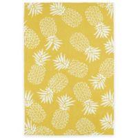 Kaleen Sea Isle Pineapples 3-Foot x 5-Foot Indoor/Outdoor Area Rug in Gold