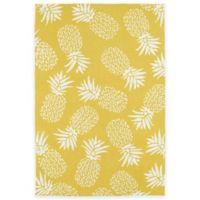 Kaleen Sea Isle Pineapples 5-Foot x 7-Foot 6-Inch Indoor/Outdoor Area Rug in Gold