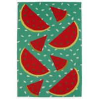 Kaleen Sea Isle Watermelon 3-Foot x 5-Foot Indoor/Outdoor Accent Rug in Green