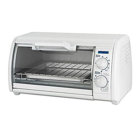 Black Amp Decker 4 Slice Toaster Oven In White Bed Bath