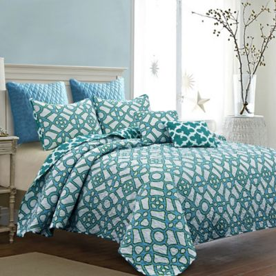 croyland reversible fullqueen quilt set in bluewhite