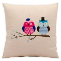 Mina Victory Mr. & Mrs. Owl Square Throw Pillow in Beige