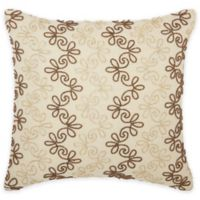 Mina Victory Luminescence Floral Stripes Square Throw Pillow in Copper/Gold
