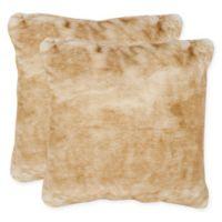 Safavieh Faux Fox Throw Pillow in Light Brown (Set of 2)