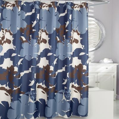 dark blue shower curtain. Moda at Home Painted Botanical Fabric Shower Curtain in Navy Buy Curtains from Bed Bath  Beyond