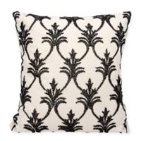Mina Victory Fleur De Lis 18-Inch Square Throw Pillow in Black