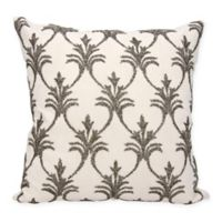 Mina Victory Fleur De Lis 18-Inch Square Throw Pillow in Pewter