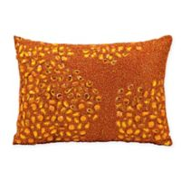 Mina Victory Luminescence Fully Beaded Rectangle Throw Pillow in Orange