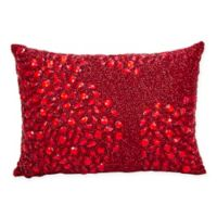 Mina Victory Luminescence Fully Beaded Rectangle Throw Pillow in Scarlet