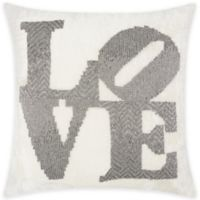 """Mina Victory """"LOVE"""" Square Throw Pillow in Pewter"""
