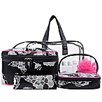Blockbuster 10-Piece Cosmetic Bag Set in Black and White Floral