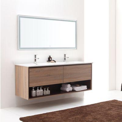 Contemporary Bathroom Avanity Sonoma 63 Inch Wall Mount Double Vanity Base In Red Khaki