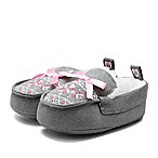 Stepping Stones Size 3-6M Faux Suede and Fur Moccasins in Grey
