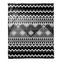 Multi Trend Boho Tribal Throw Blanket in White/Black