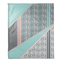 Boho Tribal Blocking Throw Blanket in Coral/Mint
