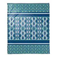 Boho Tribal Throw Blanket in Blue Mint/White