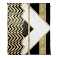 Alternating Chevron Throw Blanket in Black/Gold