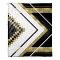 Symmetrical Pattern Throw Blanket in Black/Gold