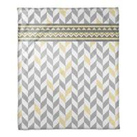 Chevron Bone Throw Blanket in Grey/Yellow