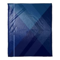 Layered Gradient Personalized Throw Blanket in Navy/Blue