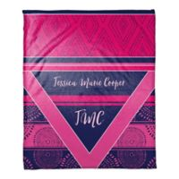 Boho Personalized Throw Blanket in Pink/Purple