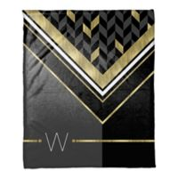 Geo Pattern Throw Blanket in Black/Gold