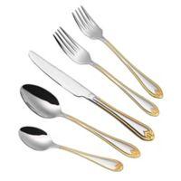 Lorren Home Trends Lorena 84-Piece Flatware Set in Gold