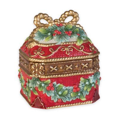 fitz and floyd yuletide holiday lidded box - Decorative Gift Boxes
