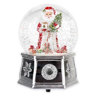 spode christmas tree santa musical snow globe in red