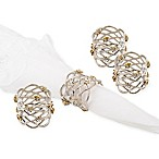 Classic Touch Silver Napkin Rings with Sparkling Diamonds (Set of 4)