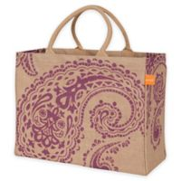 Jute Paisley Market Tote Bag in Purple