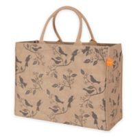 Jute Birds Market Tote Bag in Pewter