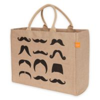 Jute Mustaches Market Tote Bag in Black