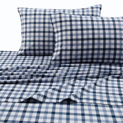 Superbe Micro Plaid Print 200 GSM Deep Pocket Twin Flannel Sheet Set In Blue