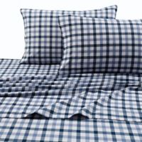 Micro Plaid Print 200 GSM Deep-Pocket King Flannel Sheet Set in Blue